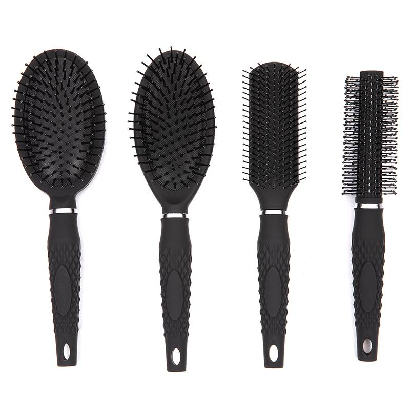 Color rubber coating classic hair brush with design comfortable handle Featured Image