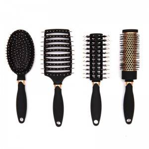 Rubber coating hair brush with colorful printing with design handle