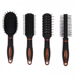 Mini hair brush with colorful rubber coating, uv electric, water transfer