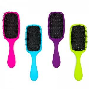 Rubber coating,UV electric, shinning printing,water transfer detangler hair brush with Intelliflex bristles