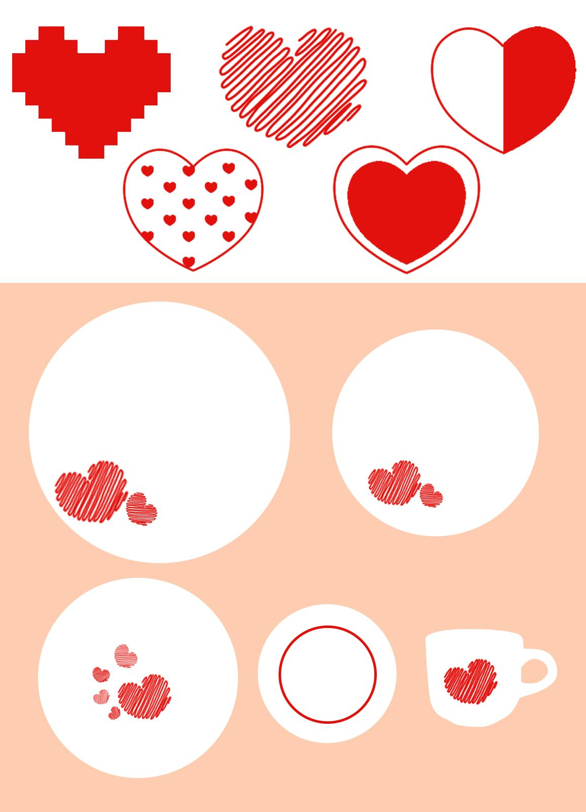 Heart-shaped design decorative porcelain tableware set