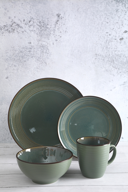 Reactive glaze stoneware ceramic tableware set