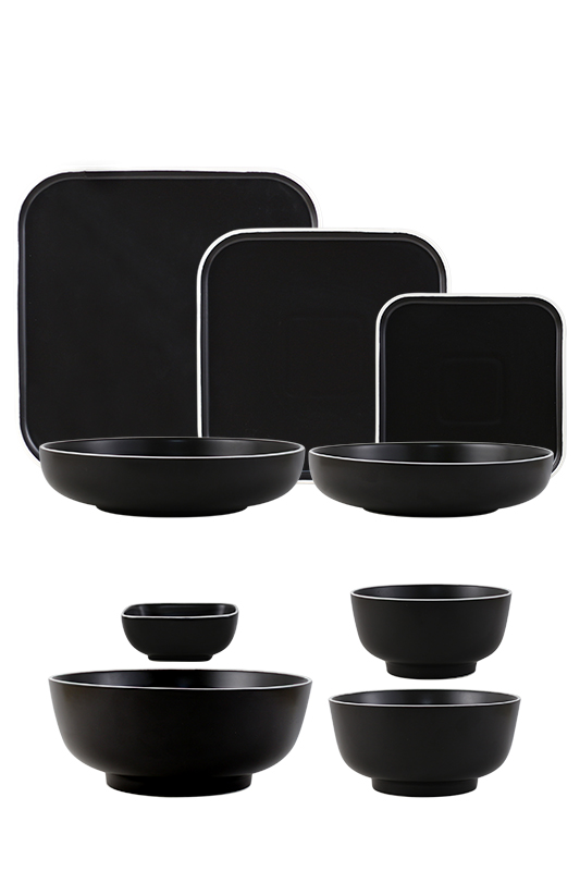 Mix And Match Black Stand-Edge Design Stoneware Tableware