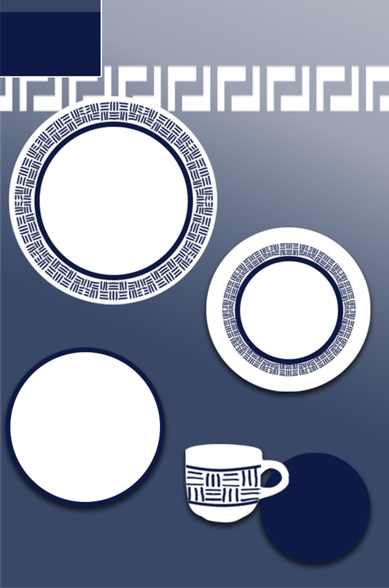 Minimalist blue line design tableware set