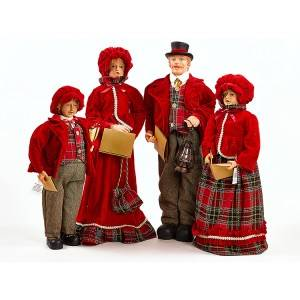 Indoor tabletop Christmas Fabric Choir Holy Family flocked figurine set