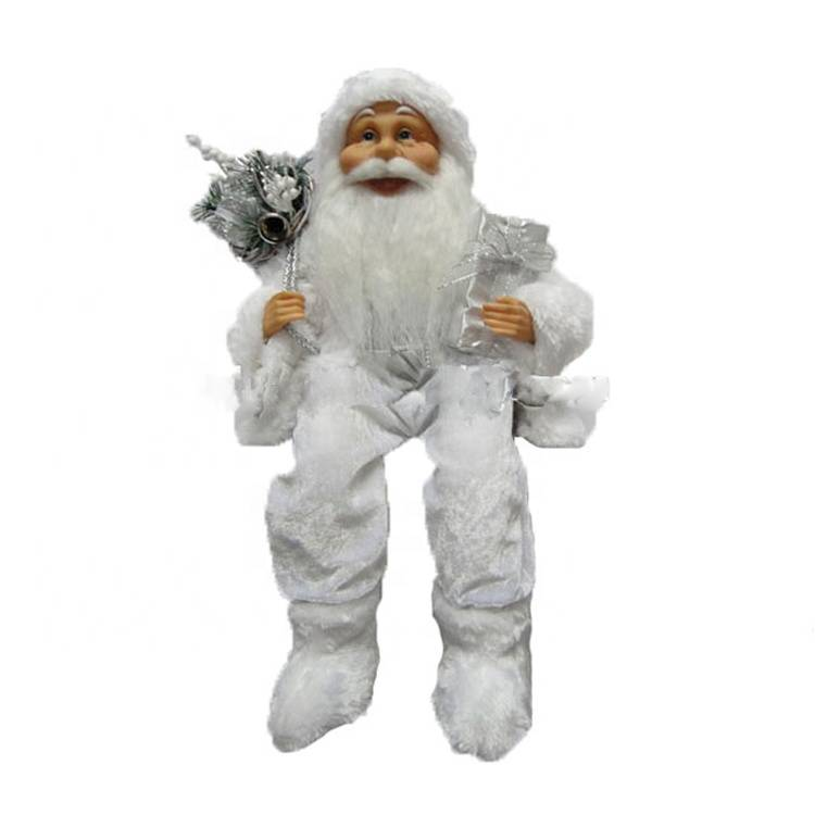Wholesale fur shoe Sitting Santa Claus 40 CM indoor Christmas Decoration with mistletoe bag