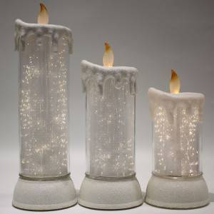 2019 navidad battery operated tabletop waterproof waterfilled glittering plastic flameless led candle light Christmas decoration