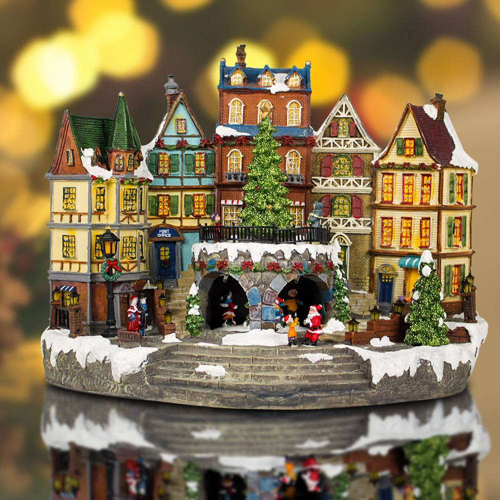 LED light up animated north pole train station resin musical Christmas village for seasonal decor and gift Featured Image