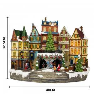 LED light up animated north pole train station resin musical Christmas village for seasonal decor and gift