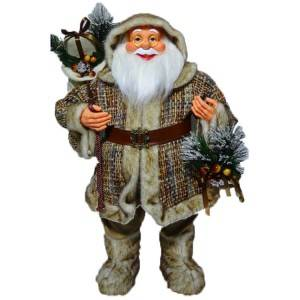 80 cm Standing Christmas father figurine, Custom plastic noel Xmas decor large size with plush clothes