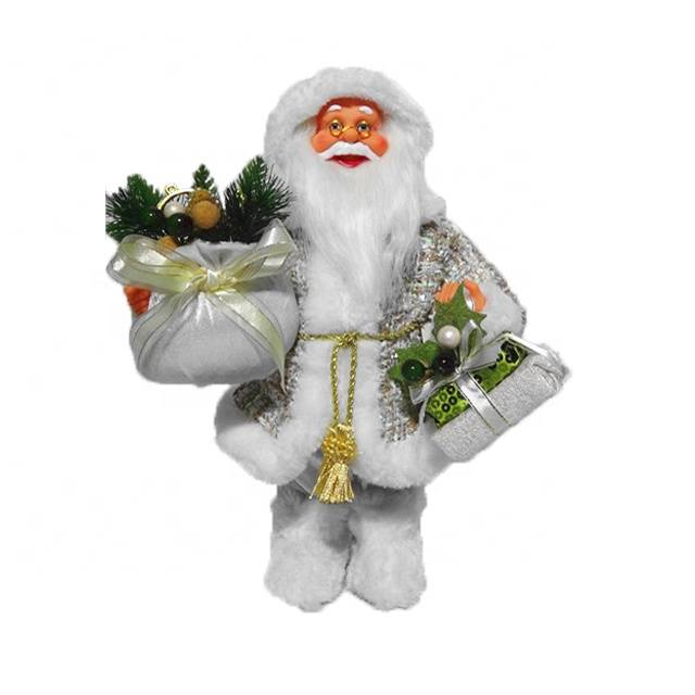 OEM Xmas indoor decor White 30 cm plastic Christmas Standing Santa Claus figurine with Jumper Sack and gift bag Featured Image