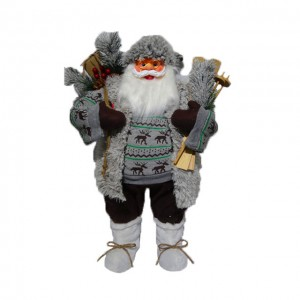 Wholesale Plastic fabric cloth Christmas decor figure 80 cm noel Standing Santa Claus with mistletoe bag