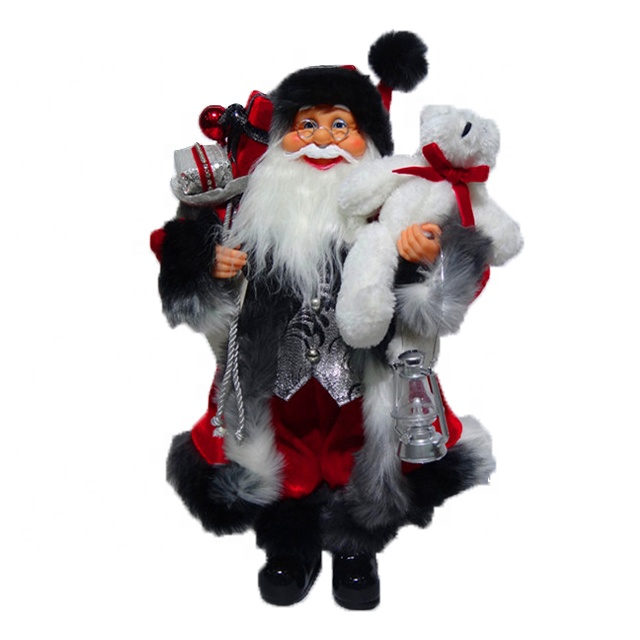 Custom design 40 cm Christmas indoor decor Plastic Standing Santa Claus figure for sale Featured Image