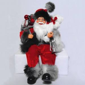Custom design 40 cm Christmas indoor decor Plastic Standing Santa Claus figure for sale