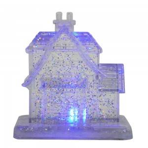 New arrive Wholesale noel Xmas decor BO Illuminated Crystal Acrylic water spinning Christmas village