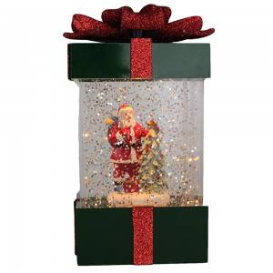 Plastic craft battery operated musical water filled glittering Led lighted decor with Santa inside