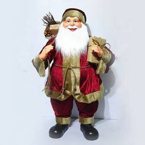 Xmas decor Wholesale customized 60 cm Plastic fabric Cloth Standing Santa Claus figurine with mistletoe bag