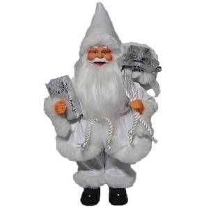 Wholesale Christmas indoor decoration plastic promotional cheap 30cm santa toy with colorful fabric clothes