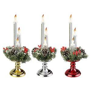 LED Acrylic Glitter water spinning christmas candle decoration