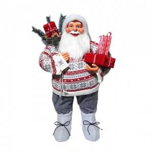 Wholesale noel delicate plastic standing 80cm Santa Claus indoor Christmas decoration