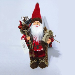 Wholesale 30 cm Nordic Xmas decor Plastic Standing Santa Claus Christmas figure in fabric cloth