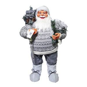 Wholesale indoor fabric Christmas decor Big 80 cm Plastic Standing Santa Claus with mistletoe bag