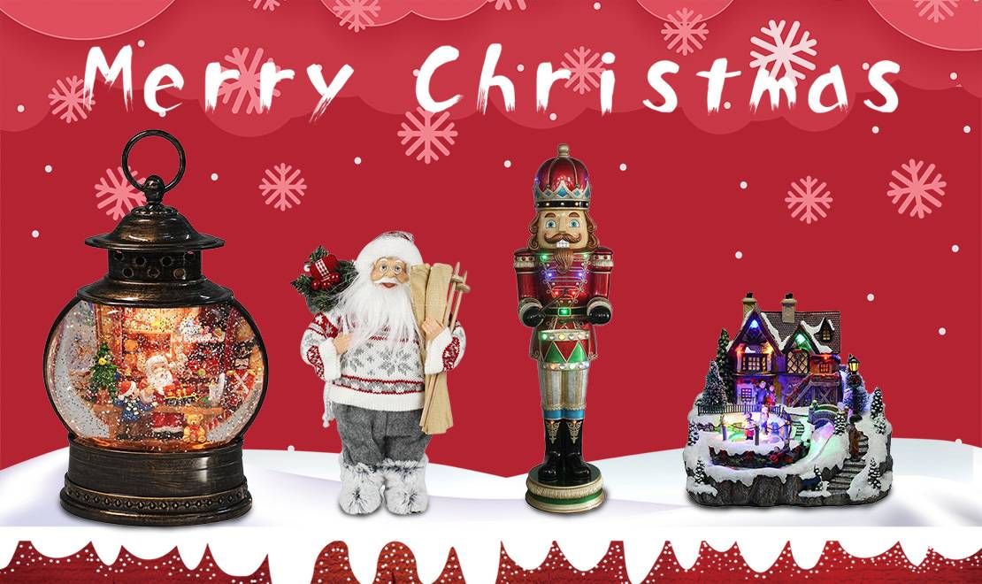 Our main product line include resin Christmas figurines, Christmas wreath & garlands, resin and wooden nutcrackers, fabric Santa Claus figurines, Christmas snow globes, Christmas music box, led & water spinning resin decor, etc.