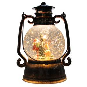 OEM Antique noel decor resin Santa battery operated glitter water spinning Christmas musical Led lantern snow globe