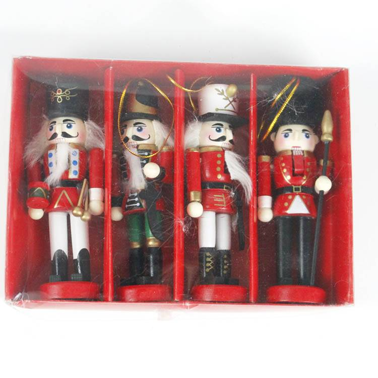 Custom Set of 4 Wholesale Christmas nutcracker wood hanging ornament Featured Image