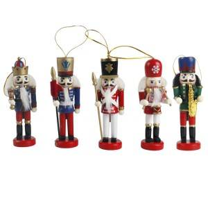 Customized Christmas Tree decor wooden mini soldier pattern nutcracker