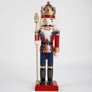 Wholesale Christmas festival decor red Uniform wooden Holding Gold Scepter Traditional King nutcracker figurine
