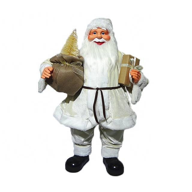 OEM Noel White 80 cm plastic Standing Santa Claus figurine for Christmas decoration