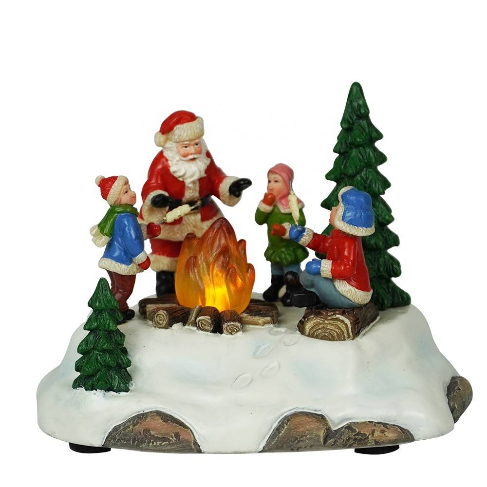 Wholesale noel tabletop Resin Santa Claus Campfire Xmas scene Illuminated Christmas decoration
