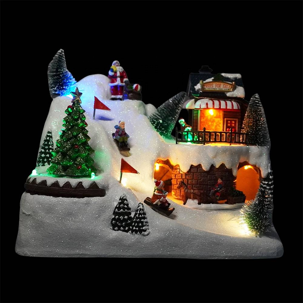 Wholesale noel Led light up Xmas scene fiber optic resin musical animated Christmas village with rotating train and skater