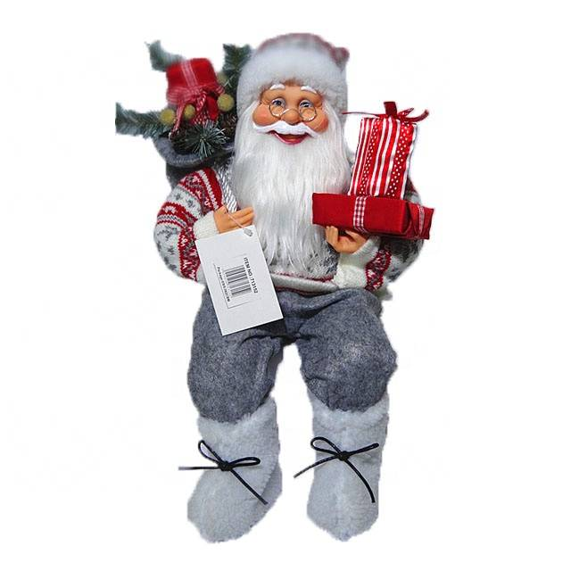 Wholesale noel room decor Plastic 40 cm Christmas Sitting Santa Claus figurine with mistletoe bag