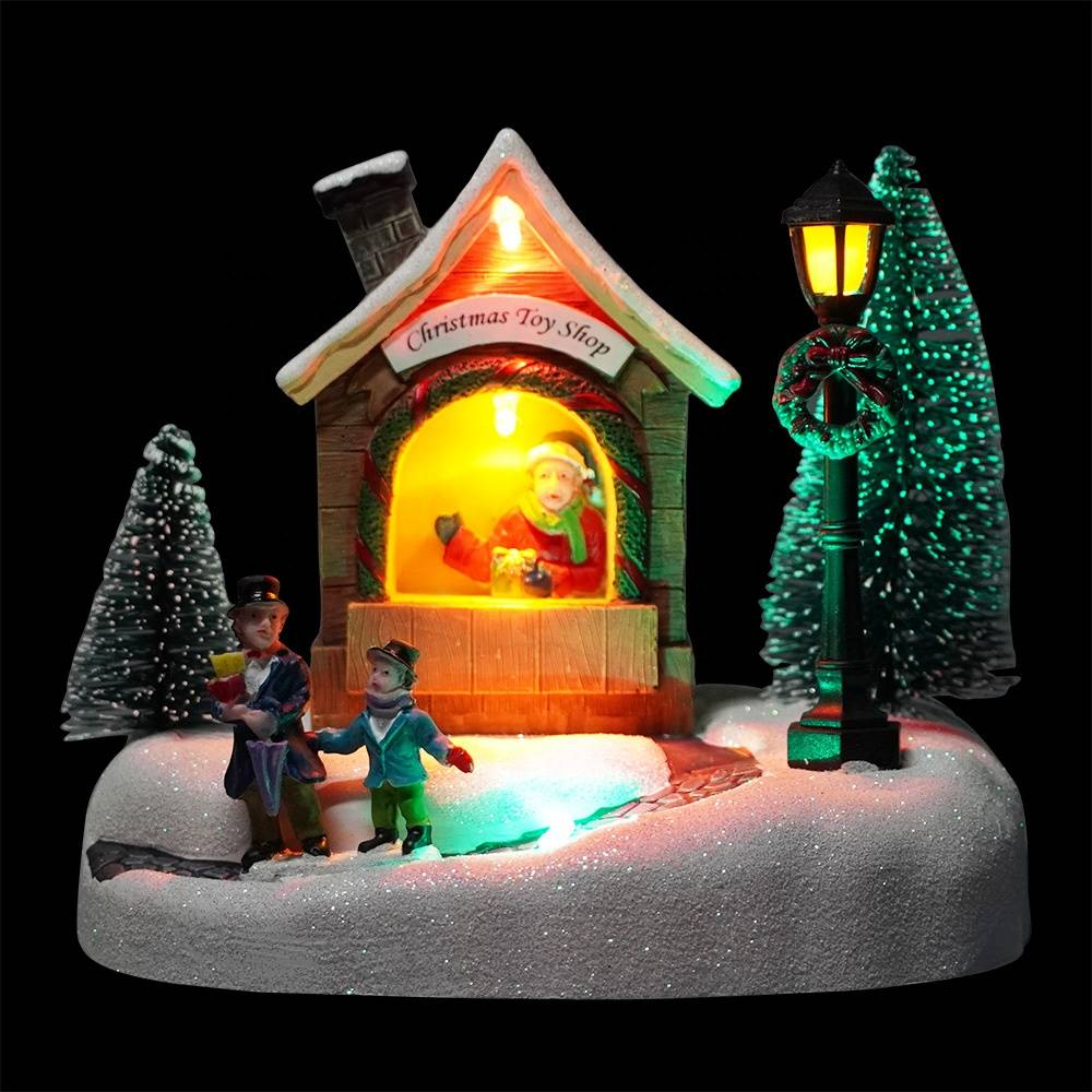 Custom noel Xmas Santa Shop scene resin fiber optic musical miniature christmas village houses with Mult Led color