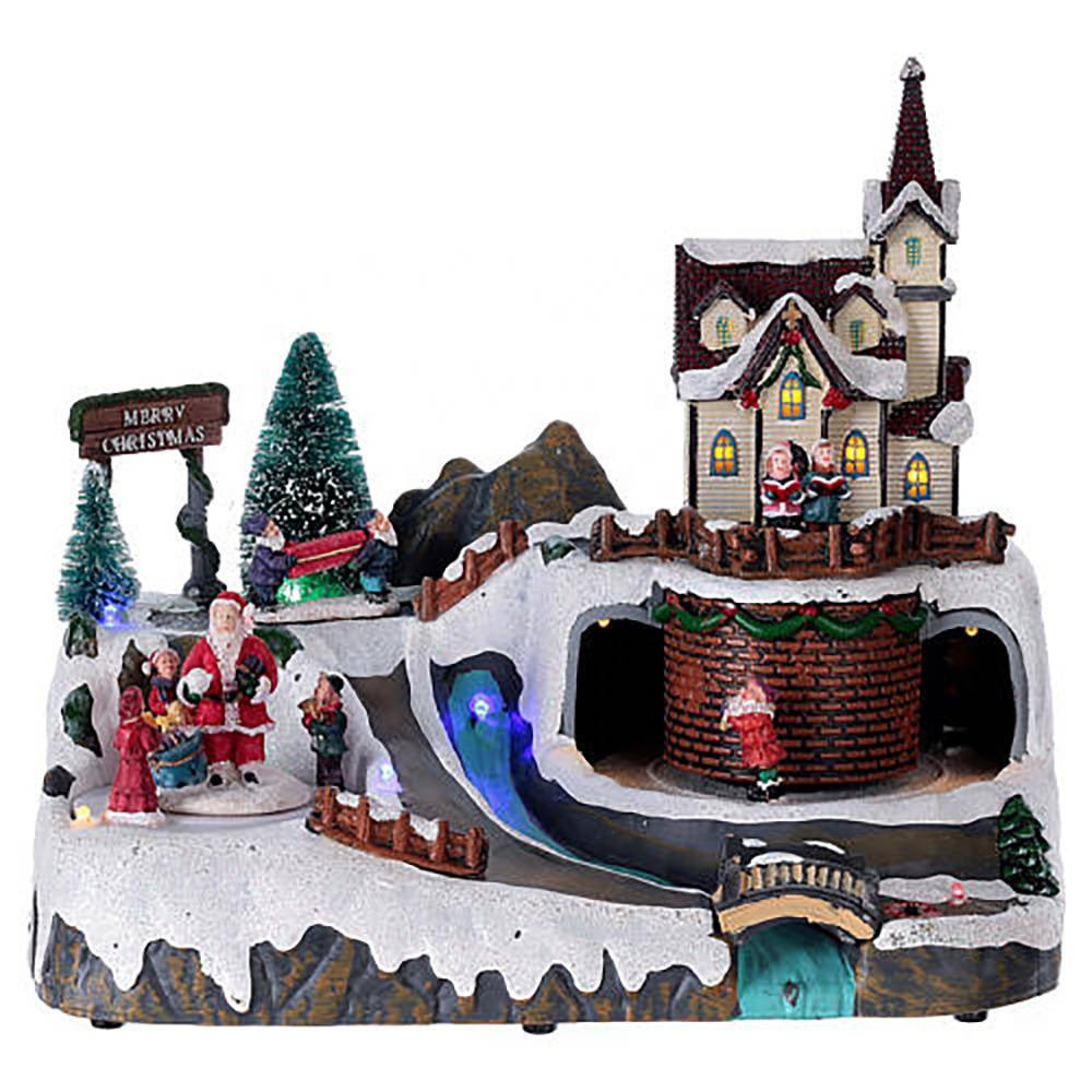 resin village music christmas village houses with Xmas Santa and train scene Featured Image