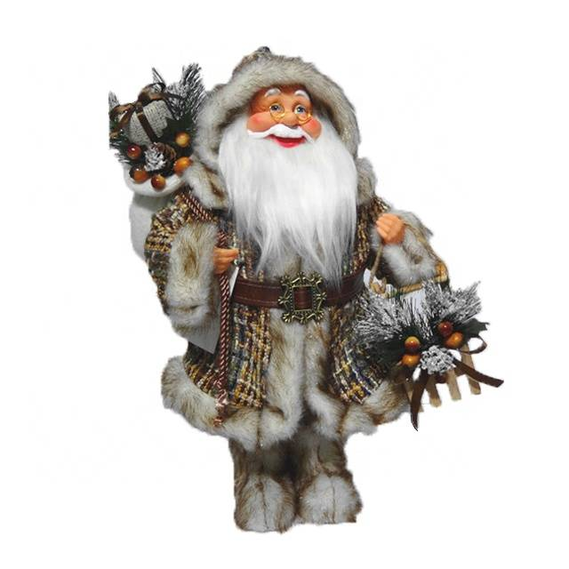 Wholesale Seasonal decor 40 cm rustic fabric Standing Santa Claus Christmas figure with knitted Jacket