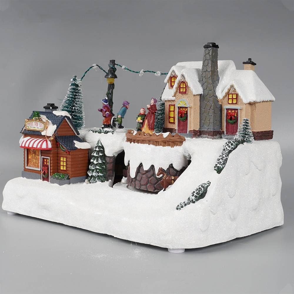 Xmas seasonal led mountain rotating train and tree scene fiber optic polyresin christmas village for holiday indoor decor