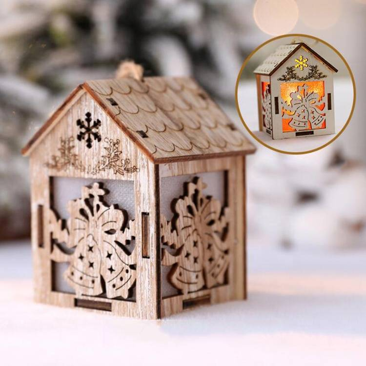 Seasonal Tabletop Noel Led lighted house Wooden craft Christmas decoration