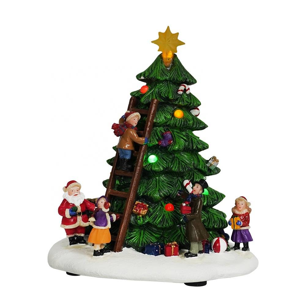 Wholesale home indoor Led polyresin Xmas Tree Scene Resin Christmas decor for gift