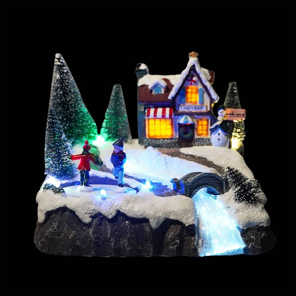 Popular animated maison de noel Light up fiber optic Christmas Led illuminated musical resin village house with Mult color Led