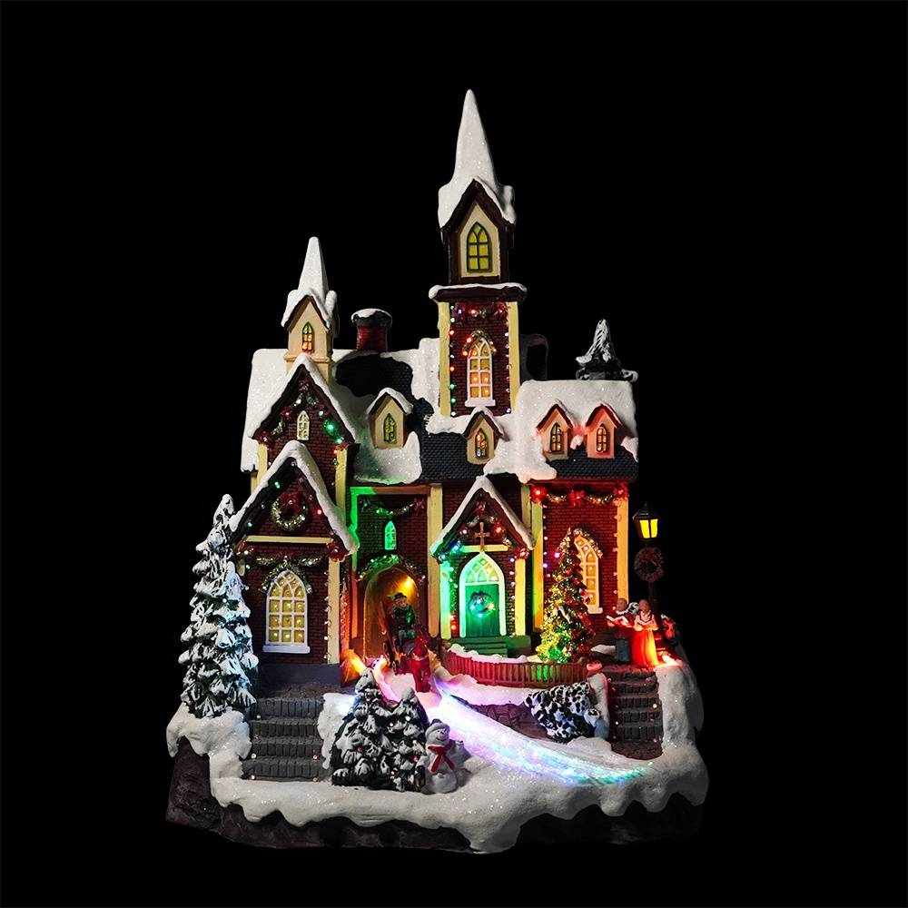 Wholesale handmade Xmas scence LED Light up decorative Polyresin Christmas village with rotating Xmas tree