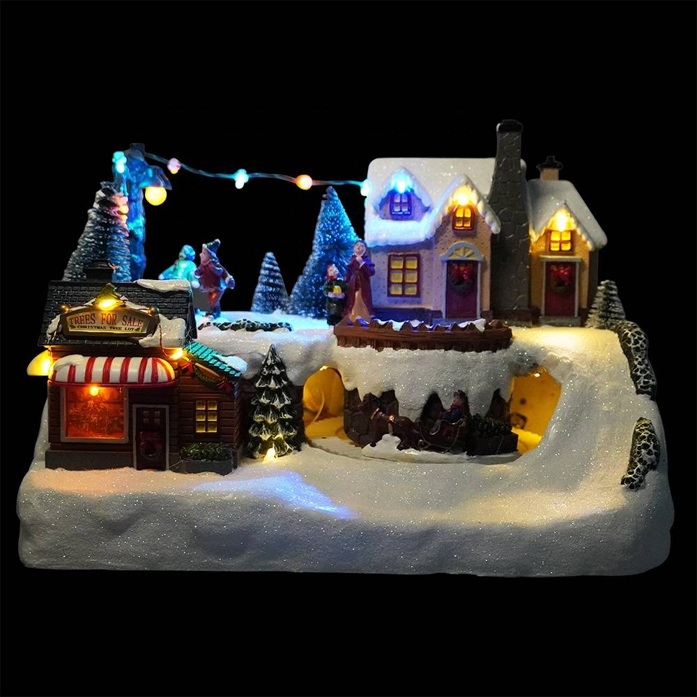 Xmas seasonal led mountain rotating train and tree scene fiber optic polyresin christmas village for holiday indoor decor Featured Image