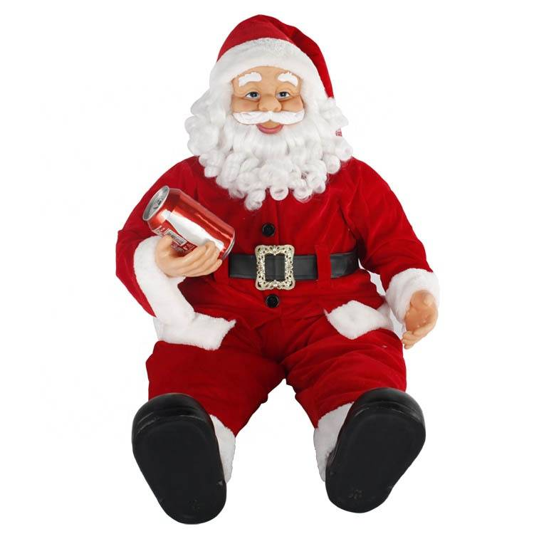 Wholesale Melody Large Size Noel Fabric decor Christmas sitting Santa Claus figurine