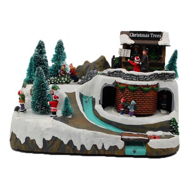 Colorful painted snow scene Led polyresin music christmas village decoration with movement