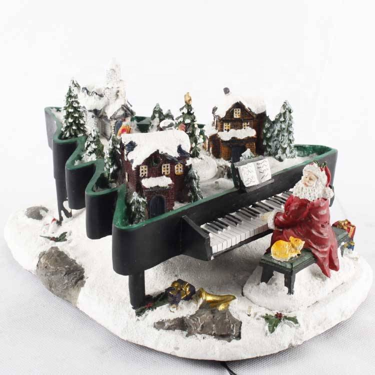 Polyresin Christmas santa piano animated with colorful LED and music house decoration