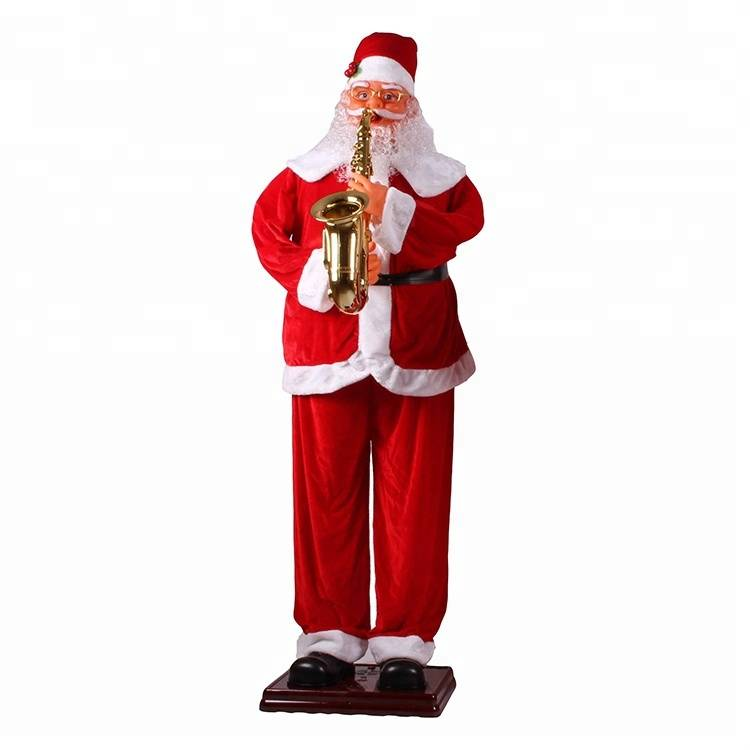 Big Musical Playing Saxophone Santa Clause statue Christmas outdoor Decoration