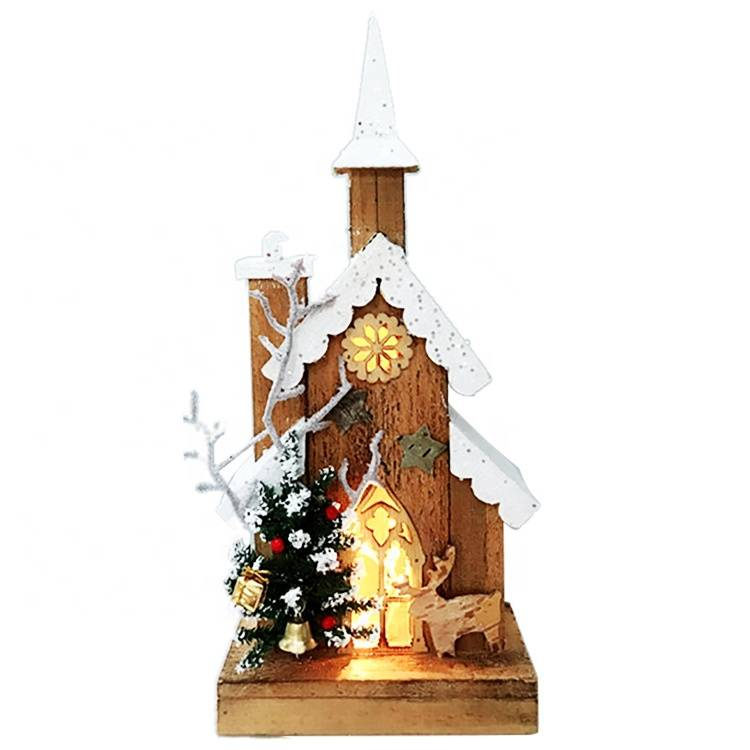 Indoor Navidad decorative religious Led lighted wooden Church house Christmas Decoration