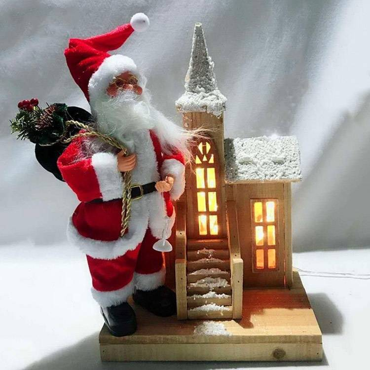 Navidad Christmas decorative Santa Claus Led lighted wooden Christmas house